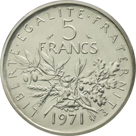 Coin, France, 5 Francs, 1971, MS(65-70), Nickel Clad Copper-Nickel, KM:P430