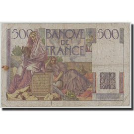 France, 500 Francs Chateaubriand, KM:129c, Fay:34.10, 1952-09-04, VG(8-10)