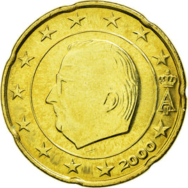 Belgium, 20 Euro Cent, 2000, MS(63), Brass, KM:228