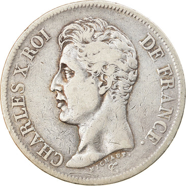 Coin, France, Charles X, 5 Francs, 1825, Marseille, VF(20-25), Silver