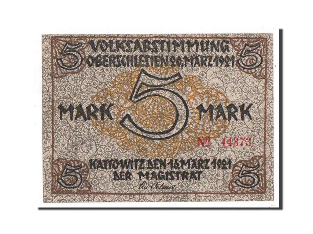 Banknote, Germany, Kattowitz, 5 Mark, machine, 1921, 1921-03-16, UNC(65-70)