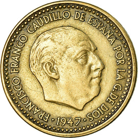 Coin, Spain, Francisco Franco, caudillo, Peseta, 1954, EF(40-45)