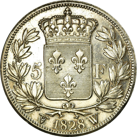 Coin, France, Charles X, 5 Francs, 1828, Lille, AU(55-58), Silver, KM:728.13