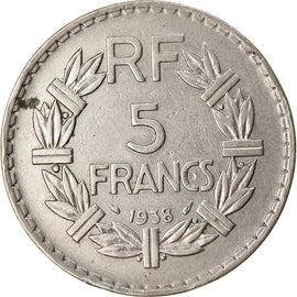 Coin, France, Lavrillier, 5 Francs, 1938, Paris, AU(50-53), Nickel, KM:888
