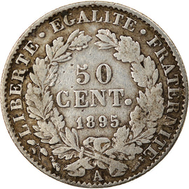 Coin, France, Cérès, 50 Centimes, 1895, Paris, EF(40-45), Silver, KM:834.1