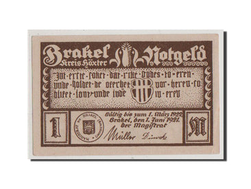 Germany, Brakel Stadt, 1 Mark, 1921, UNC(64), Mehl #150.3