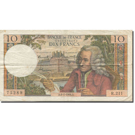 France, 10 Francs, Voltaire, 1963-1973, 1966-01-06, VF(20-25), Fayette:62.19
