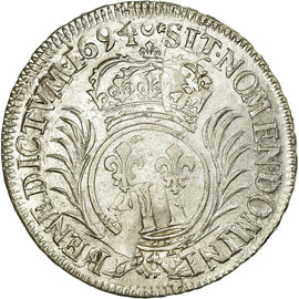 Coin, France, 1/2 Ecu, 1694, AU(50-53), Silver, Gadoury:185