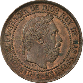 Coin, Spain, Charles VII, 5 Centimos, 1875, AU(55-58), Copper, KM:669