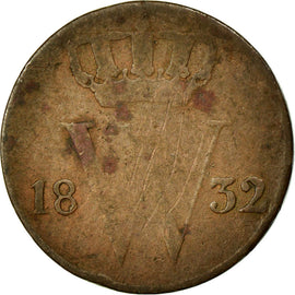 Coin, Netherlands, William I, 1/2 Cent, 1832, VF(20-25), Copper, KM:51
