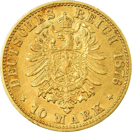 Coin, German States, BADEN, Friedrich I, 10 Mark, 1876, Stuttgart, EF(40-45)