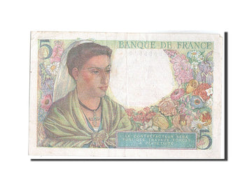 Banknote, France, 5 Francs, 5 F 1943-1947 ''Berger'', 1943, 1943-07-22
