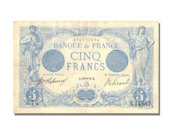France, 5 Francs, 5 F 1912-1917 ''Bleu'', 1916, KM #70, 1916-11-13, AU(50-53),..