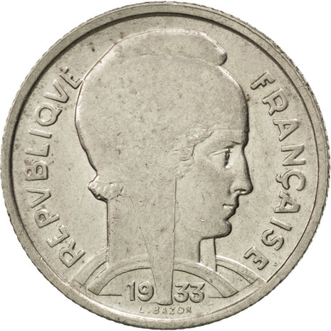 FRANCE, Bazor, 5 Francs, 1933, Paris, KM #887, AU(50-53), Nickel, 23.7, Gadoury.