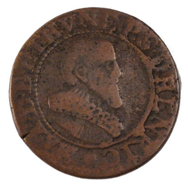FRENCH STATES, Double Tournois, 1637, KM #5, VF(20-25), Copper, 20.6, Boudeau...