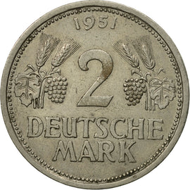 Coin, GERMANY - FEDERAL REPUBLIC, 2 Mark, 1951, Hamburg, EF(40-45)