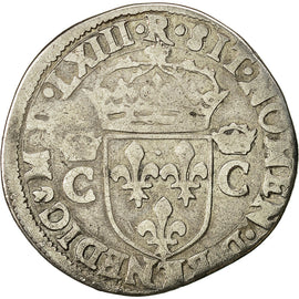 Coin, France, Charles IX, Demi Teston, 1563, Toulouse, VF(20-25), Silver