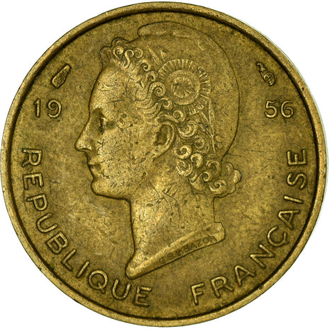 Coin, French West Africa, 5 Francs, 1956, EF(40-45), Aluminum-Bronze, KM:5