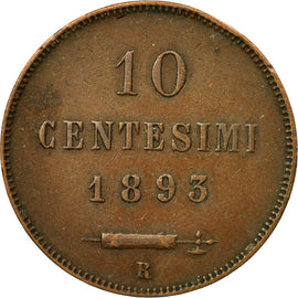 Coin, San Marino, 10 Centesimi, 1893, AU(50-53), Copper, KM:2