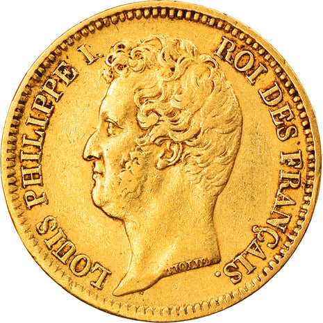 Coin, France, Louis-Philippe, 20 Francs, 1831, Paris, EF(40-45), Gold, KM:739.1