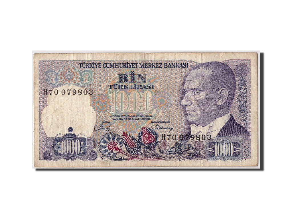 Turkey, 1000 Lira, L.1970 (1986), Undated, KM:196, VF(20-25)