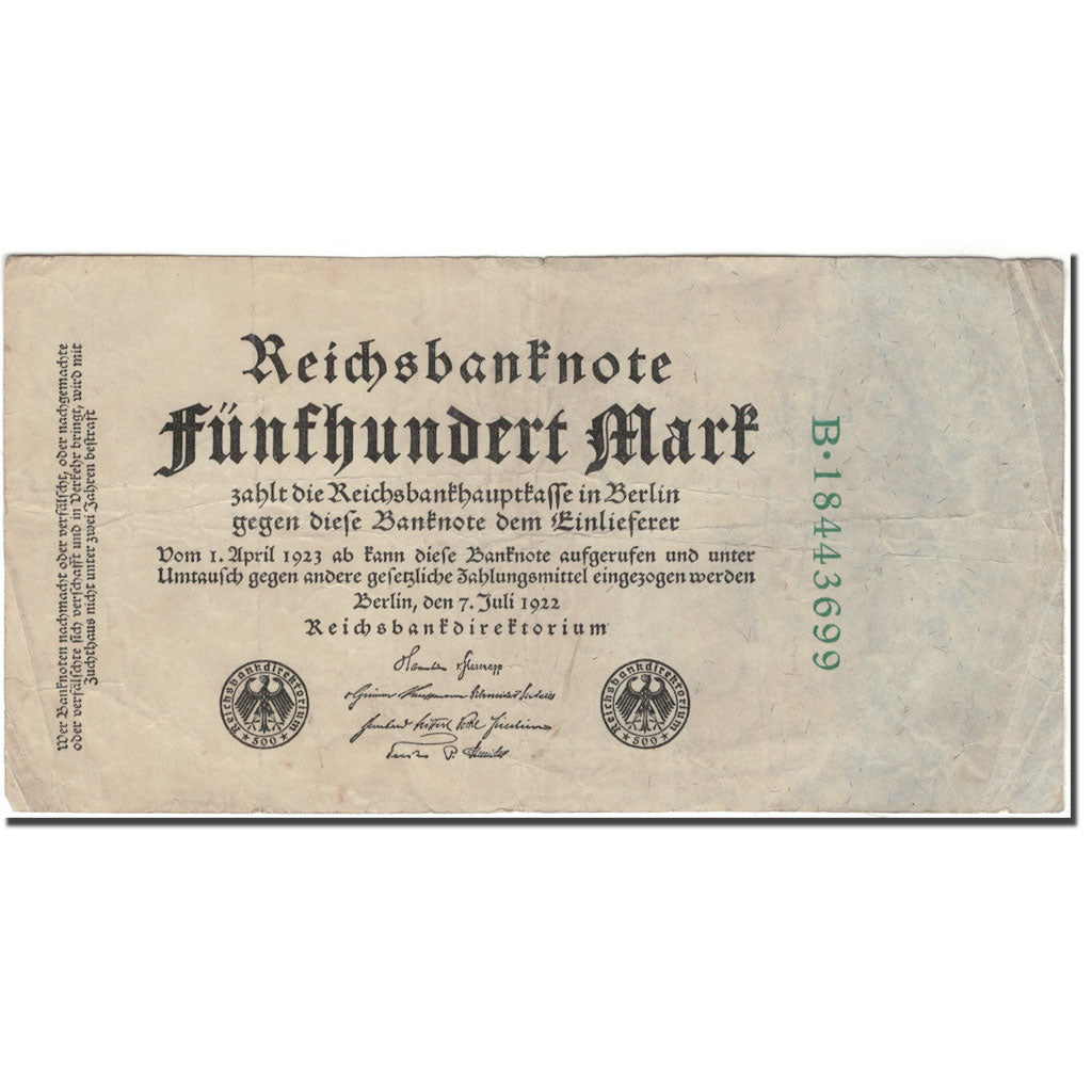 Banknote, Germany, 500 Mark, 1922-07-07, KM:74c, VF(30-35)
