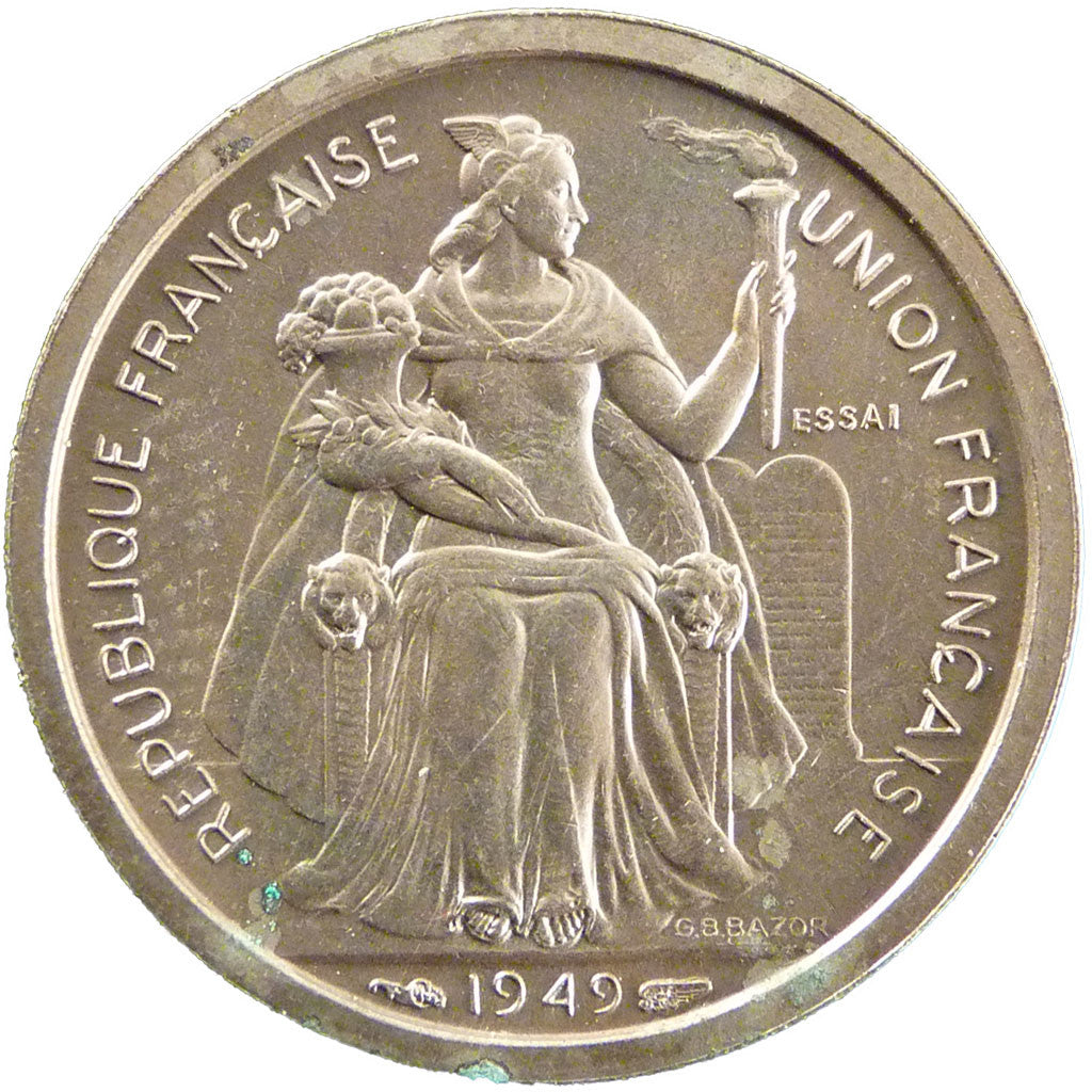 French Polynesia, 1 Franc, 1949, MS(65-70), Bronze-Nickel, Lecompte #17, 5.20