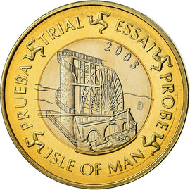 Isle of Man, Medal, 1 E, Essai-Trial, 2003, MS(63), Bi-Metallic