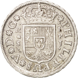 SPAIN, Real, 1738, Seville, KM #354, AU(50-53), Silver, 2.92