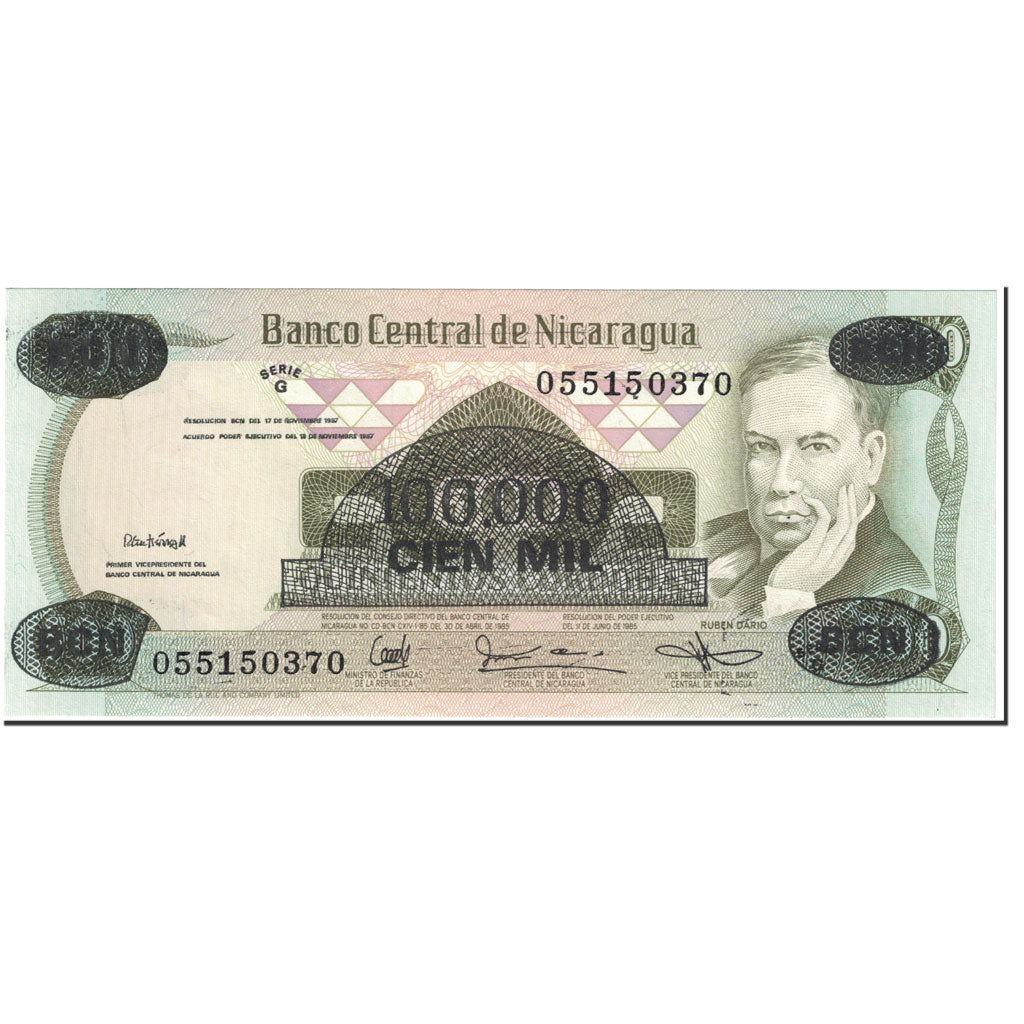 Dated 1987 100.000 /& 500.000 Overprint Details about  /2 X Nicaragua Banknotes