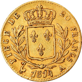 Coin, France, Louis XVIII, 20 Francs, 1814, Paris, EF(40-45), Gold