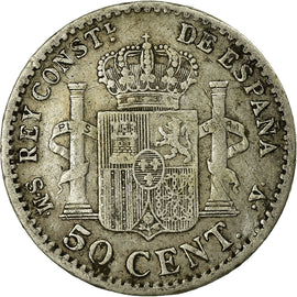 Coin, Spain, Alfonso XIII, 50 Centimos, 1904, Madrid, VF(30-35), Silver, KM:723