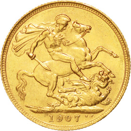 AUSTRALIA, Sovereign, 1907, Sydney, KM #15, AU(50-53), Gold, 21, 7.98