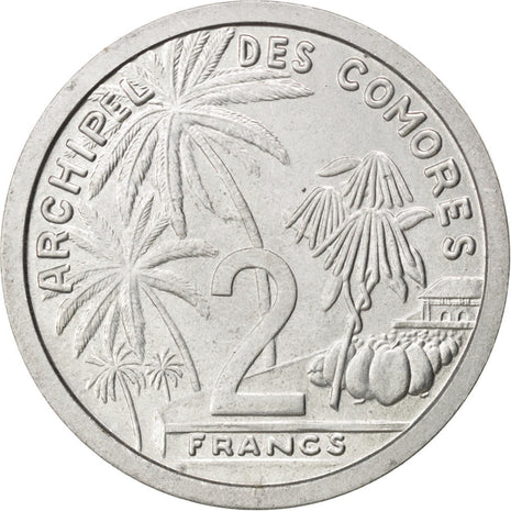 COMOROS, 2 Francs, 1964, Paris, KM #E2, MS(60-62), Aluminium, Lecompte #34, 2.18