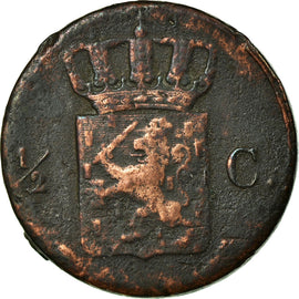 Coin, Netherlands, William I, 1/2 Cent, 1832, Brussels, VF(30-35), Copper, KM:51