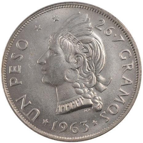 DOMINICAN REPUBLIC, Peso, 1963, KM #30, MS(60-62), Silver, 38, 26.65