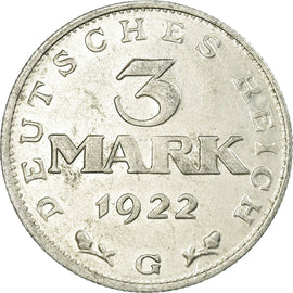 Coin, GERMANY, WEIMAR REPUBLIC, 3 Mark, 1922, Karlsruhe, EF(40-45), Aluminum