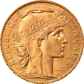 Coin, France, Marianne, 20 Francs, 1910, Paris, MS(60-62), Gold, KM:857