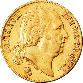 Coin, France, Louis XVIII, 20 Francs, 1820, Paris, EF(40-45), Gold, KM:712.1