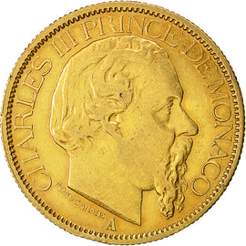 Coin, Monaco, Charles III, 100 Francs, 1884, Paris, EF(40-45), Gold, KM 99