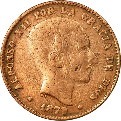 Coin, Spain, Alfonso XII, 10 Centimos, 1879, Madrid, VF(30-35), Bronze, KM:675