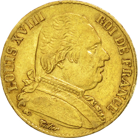 Coin, France, Louis XVIII, Louis XVIII, 20 Francs, 1815, Paris, EF(40-45), Gold