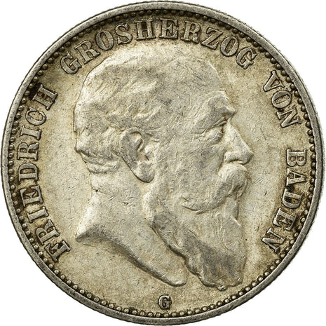 Coin, German States, BADEN, Friedrich I, 2 Mark, 1904, Stuttgart, EF(40-45)