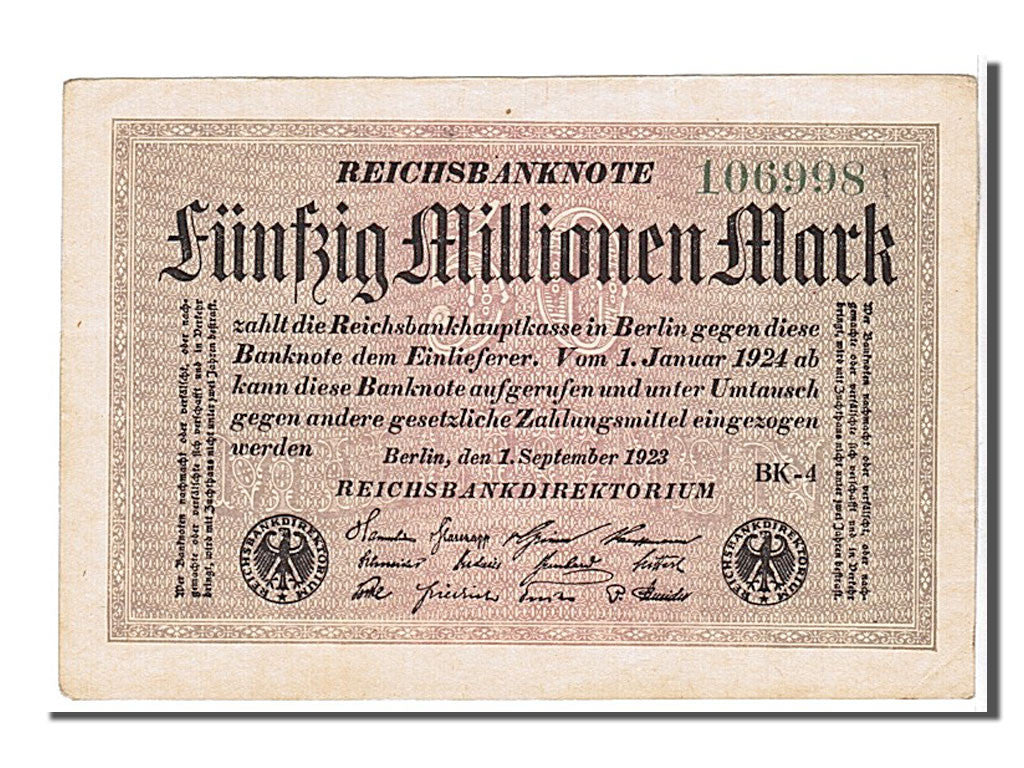 Germany, 50 Millionen Mark, 1923, KM #109c, UNC(65-70), 106998