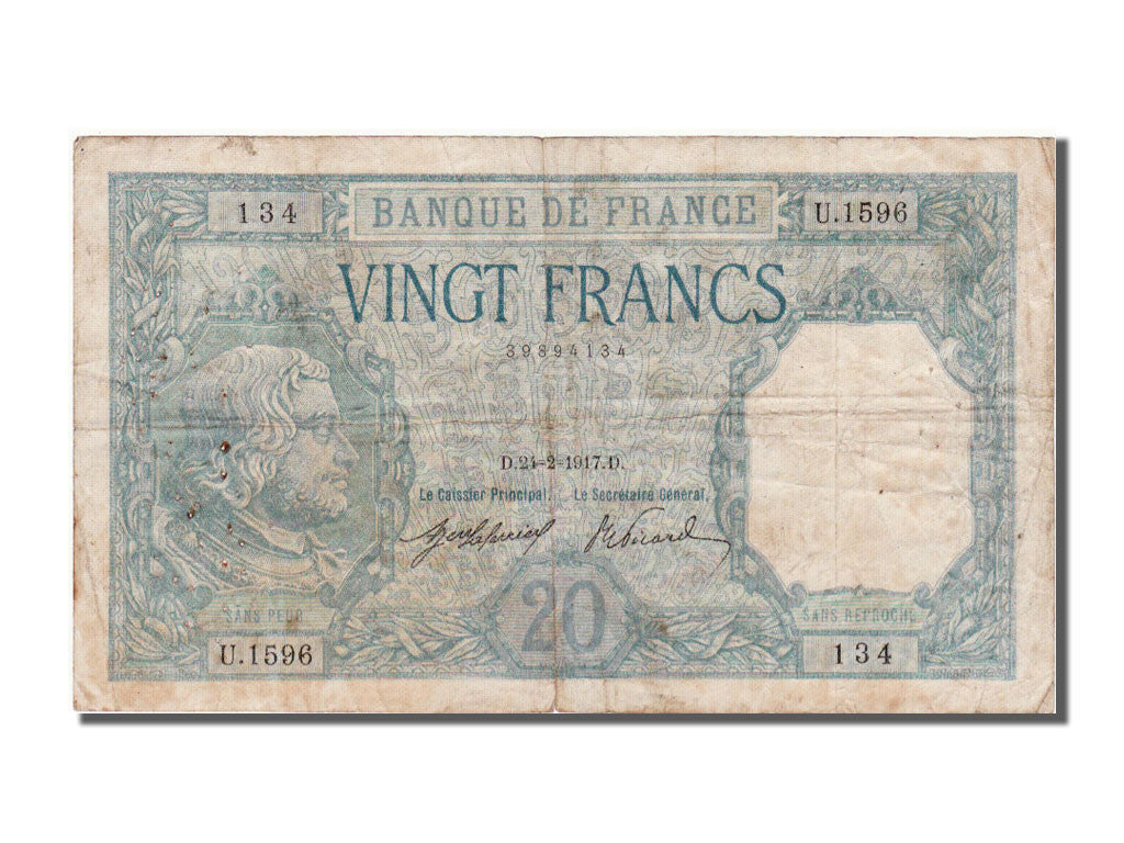 France, 20 Francs, 20 F 1916-1919 ''Bayard'', 1917, KM #74, 1917-02-24,...