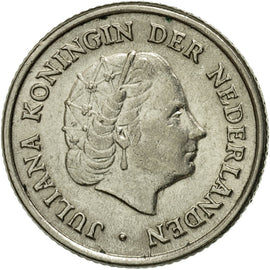Coin, Netherlands, Juliana, 10 Cents, 1951, AU(55-58), Nickel, KM:182