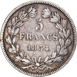 Coin, France, Louis-Philippe, 5 Francs, 1834, Nantes, VF(30-35), Silver