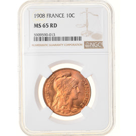 Coin, France, Dupuis, 10 Centimes, 1908, Paris, NGC, MS65RD, MS(65-70), Bronze