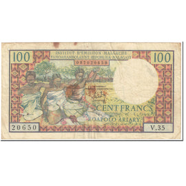 Banknote, Madagascar, 100 Francs =  20 Ariary, 1966, Undated (1966), KM:57a
