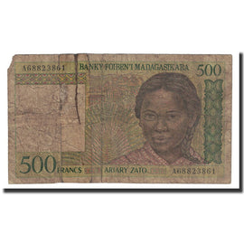 Banknote, Madagascar, 500 Francs = 100 Ariary, 1994, Undated (1994), KM:75a